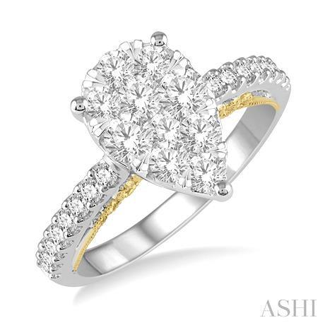 Pear Shape Lovebright Bridal Diamond Engagement Ring