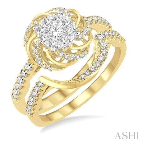 Flower Shape Lovebright Bridal Diamond Wedding Set