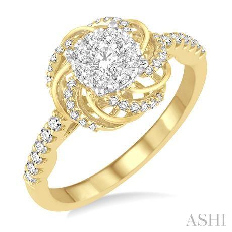 Flower Shape Lovebright Bridal Diamond Engagement Ring