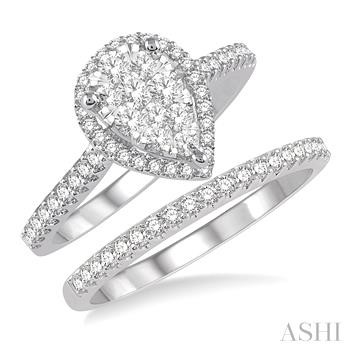 Pear Shape Lovebright Essential Diamond Wedding Set