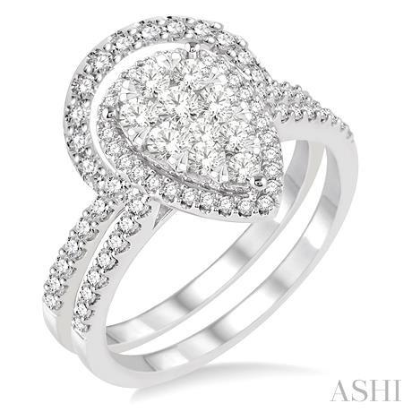 Pear Shape Lovebright Bridal Diamond Wedding Set
