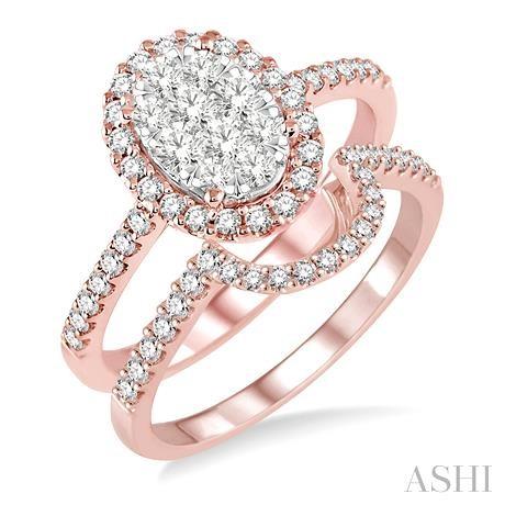Oval Shape Lovebright Bridal Diamond Wedding Set