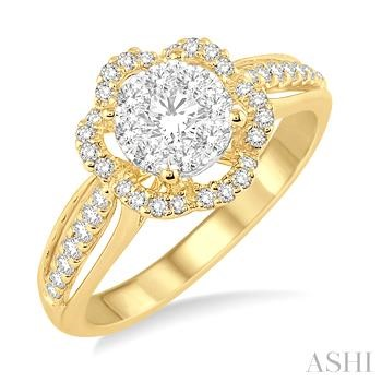 Flower Shape Lovebright Bridal Diamond Engagement Ring