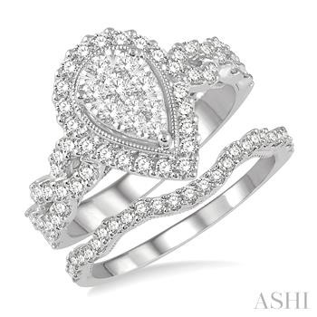 Pear Shape Lovebright Bridal Diamond Wedding Set