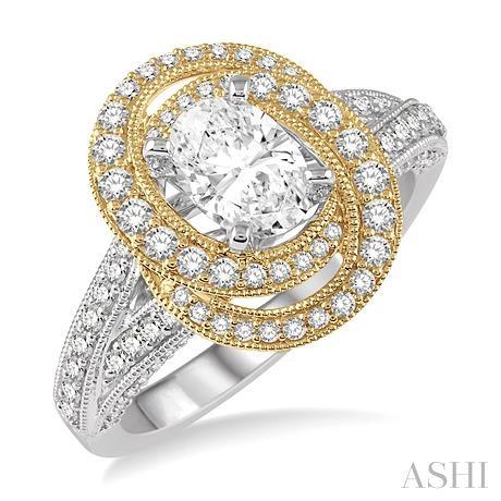 Oval Semi-Mount Diamond Engagement Ring