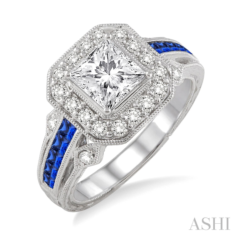 Gemstone & Diamond Semi-Mount Engagement Ring