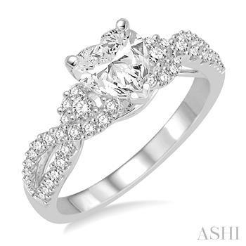 Heart Shape Semi-Mount Diamond Engagement Ring