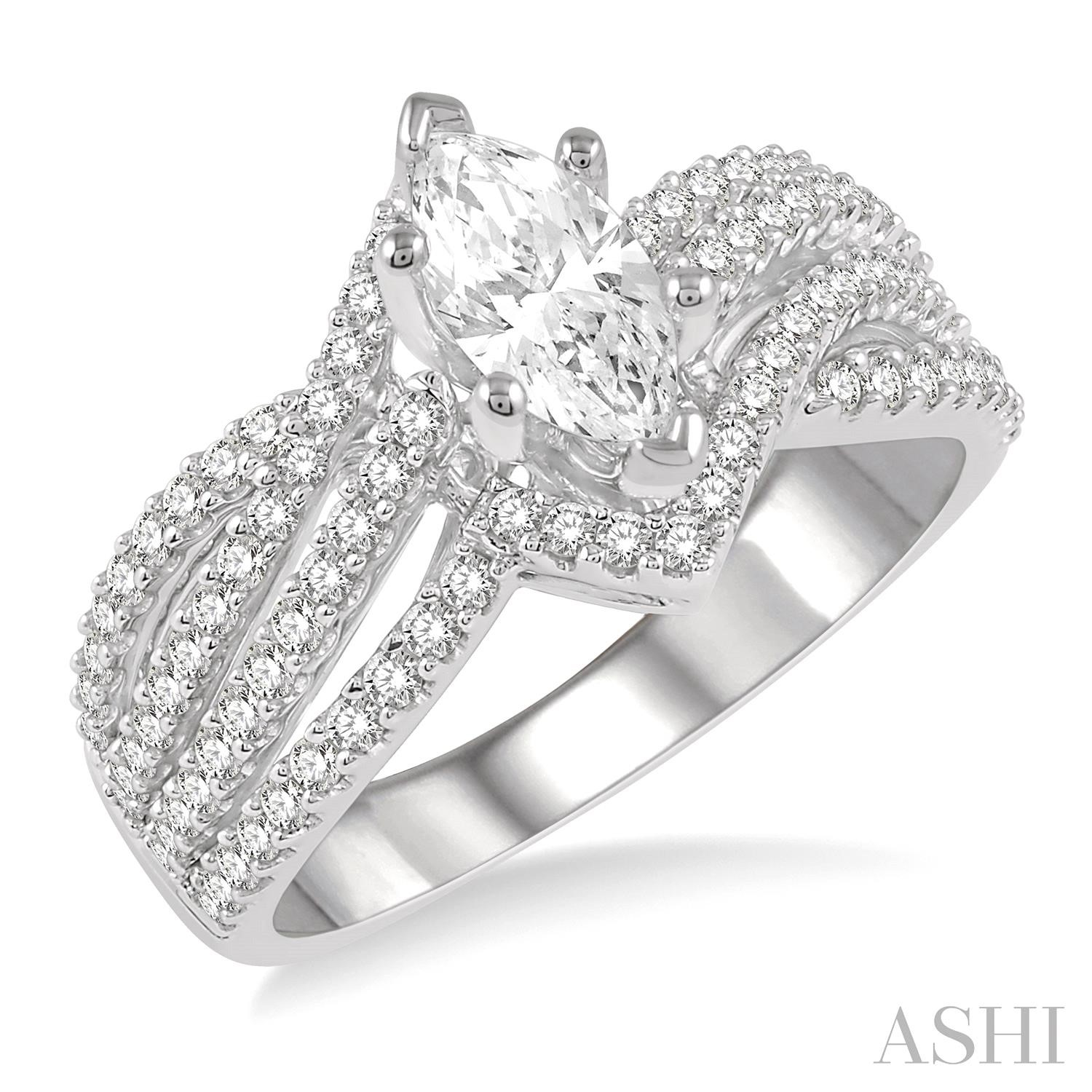 Marquise Shape Semi-Mount Diamond Engagement Ring