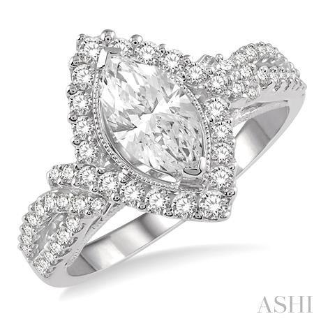 Marquise Shape Semi-Mount Diamond Engagement Ring