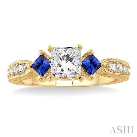 PAST PRESENT & FUTURE GEMSTONE & DIAMOND ENGAGEMENT RING