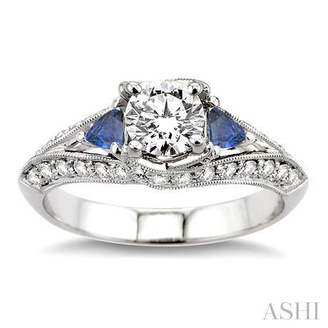 Gemstone & Diamond Engagement Ring