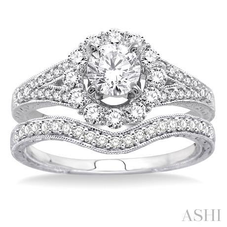Flower Shape Diamond Wedding Set