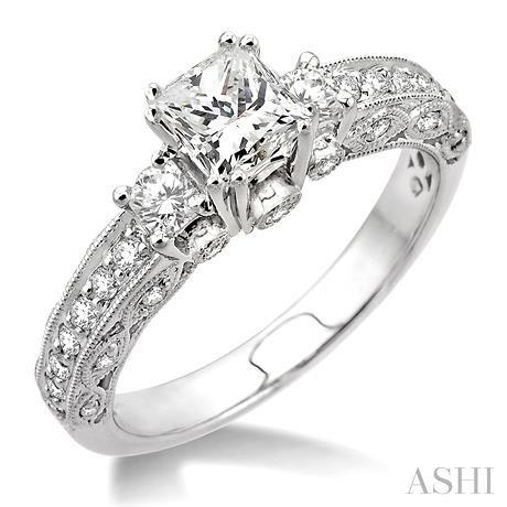 Past Present & Future Semi-Mount Diamond Engagement Ring
