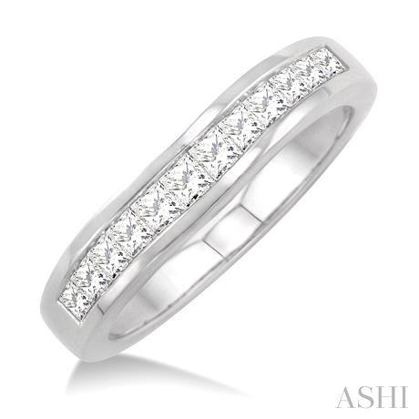 Channel Set Diamond Curved Wedding Band