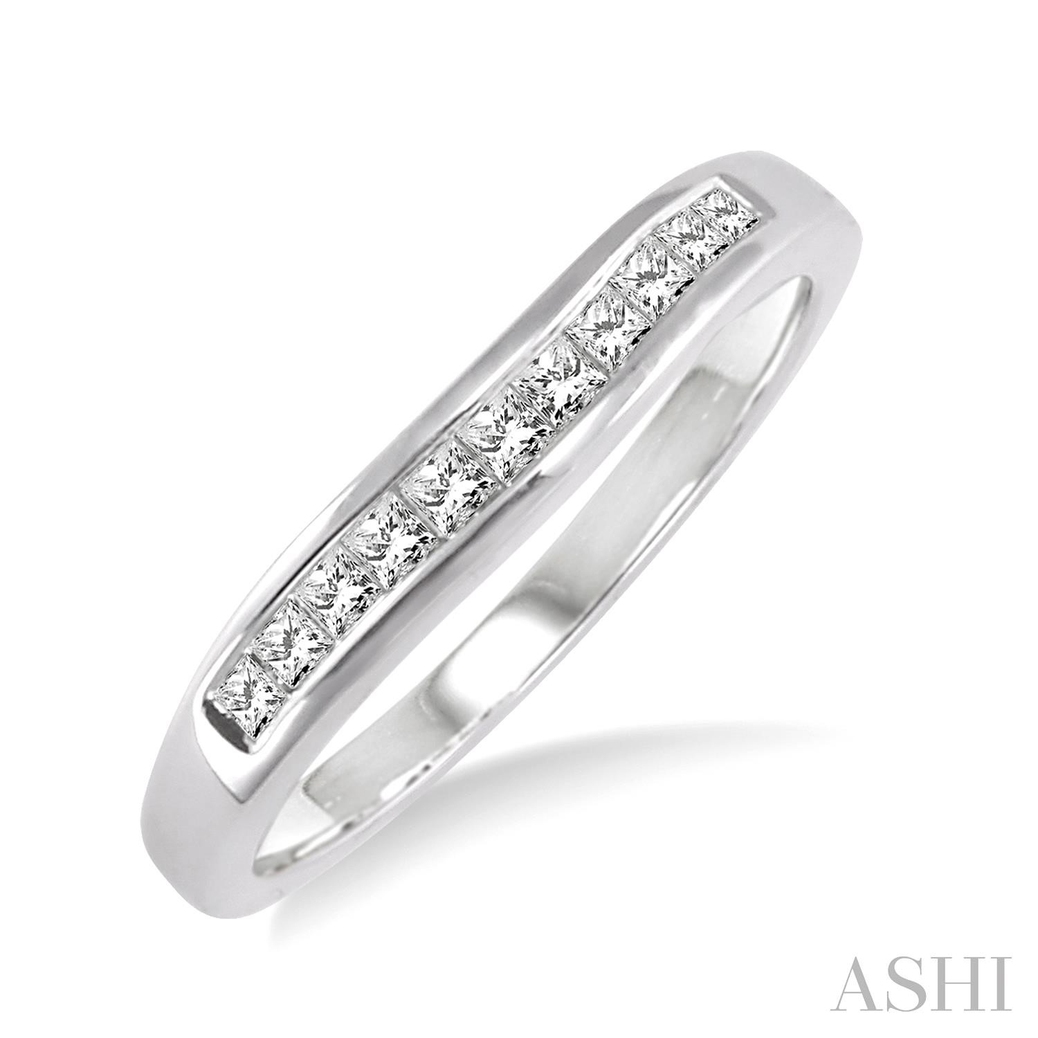 Channel Set Diamond Curved Wedding Band