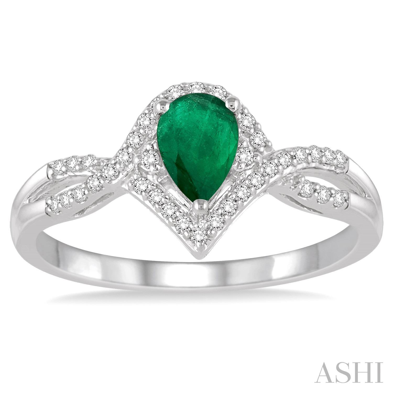 Pear Shape Gemstone & Diamond Ring