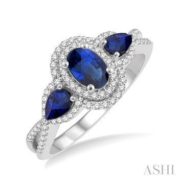 Oval & Pear Shape Gemstone & Diamond Ring