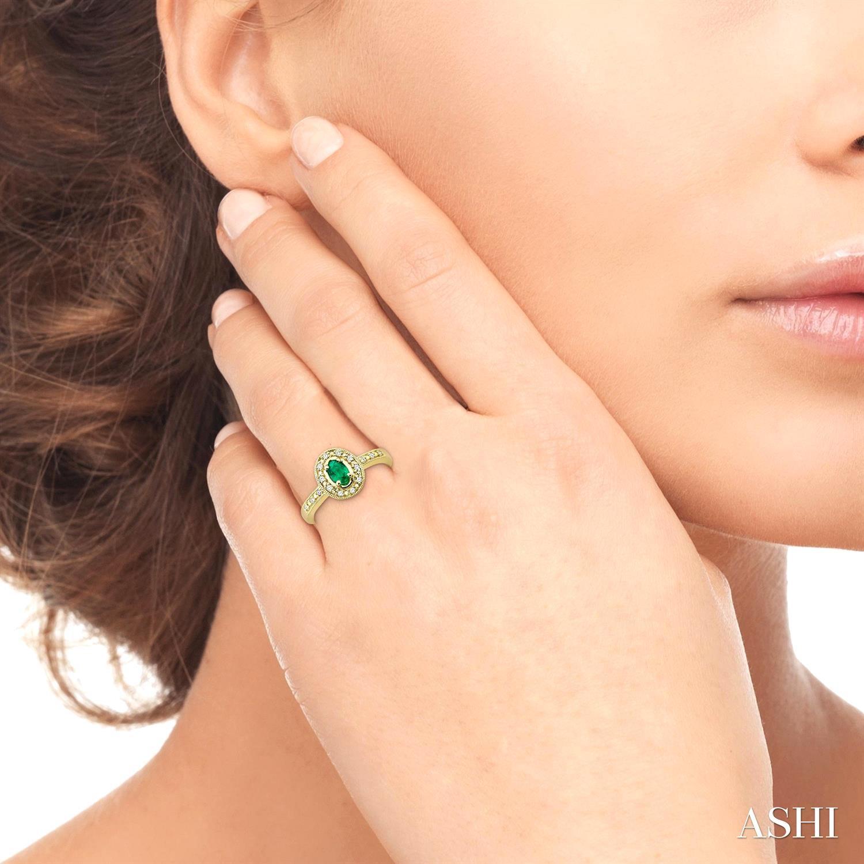 Oval Shape Gemstone & Diamond Ring