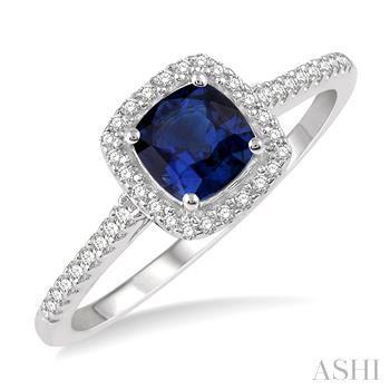 Cushion Shape Gemstone & Diamond Ring