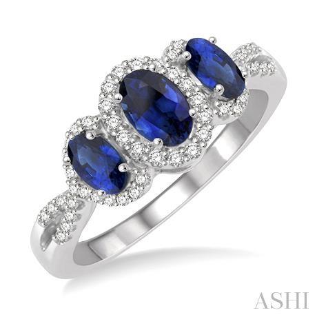Oval Shape Past Present & Future Gemstone & Diamond Ring