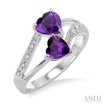 Heart Shape Gemstone & Diamond Ring
