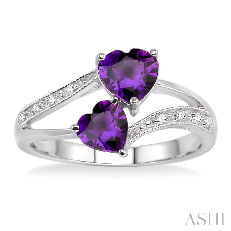 Heart Shape Gemstone & Diamond Ring