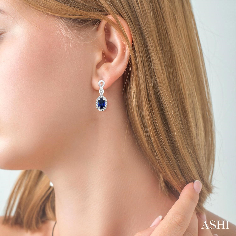 Oval Shape Gemstone & Diamond Earrings