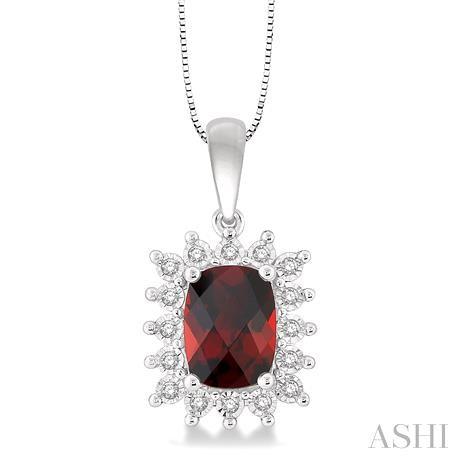 Cushion Shape Gemstone & Diamond Pendant