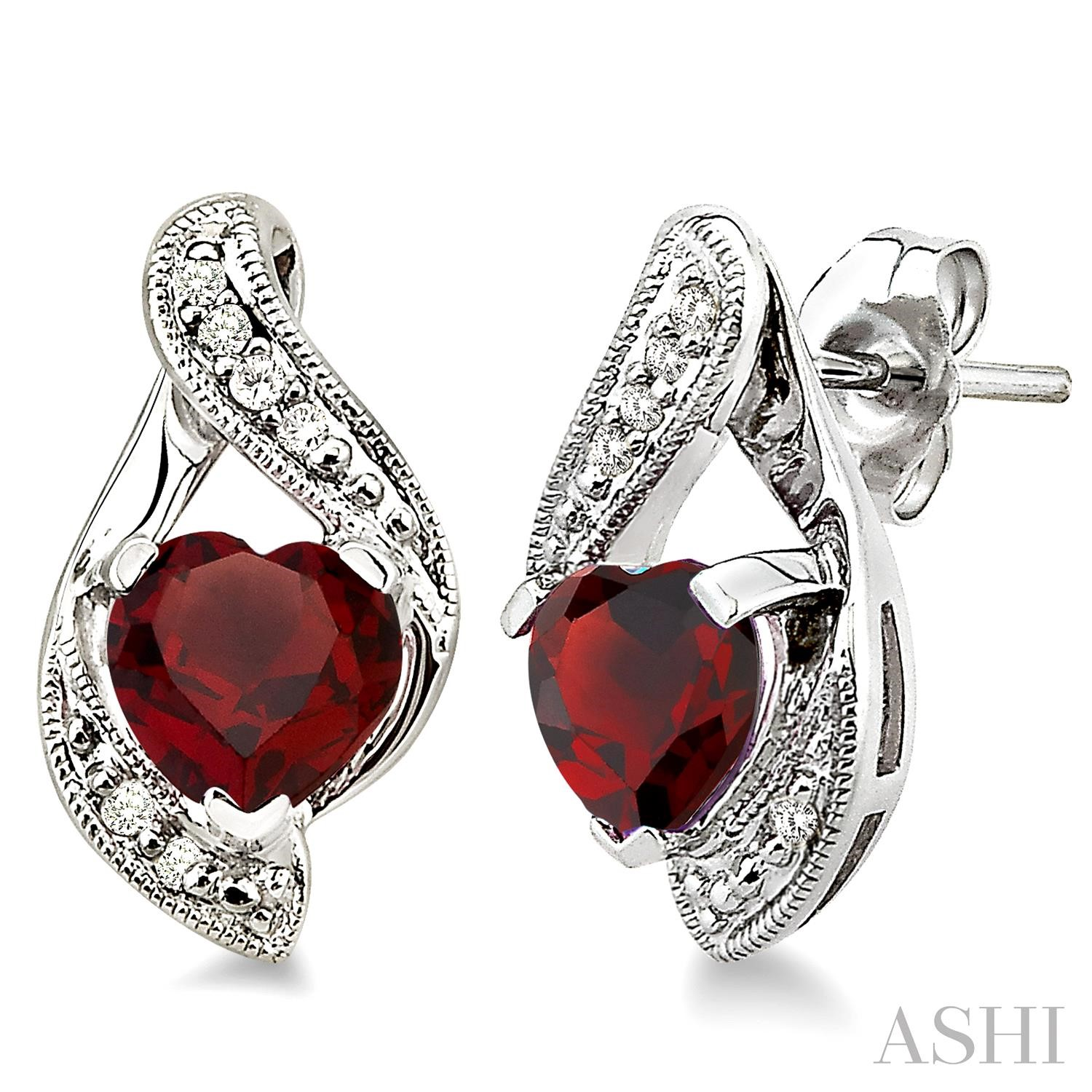 HEART GEMSTONE & DIAMOND EARRINGS