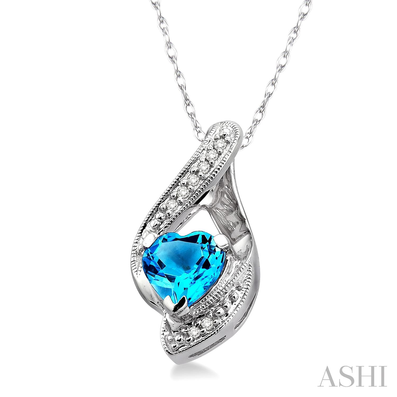 Heart Shape Gemstone & Diamond Pendant