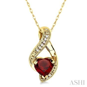 HEART GEMSTONE & DIAMOND PENDANT