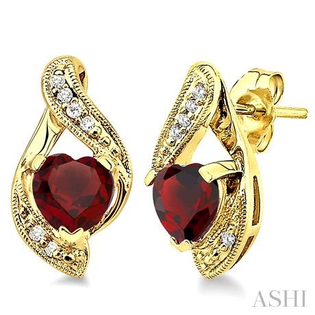 Heart Shape Gemstone & Diamond Earrings