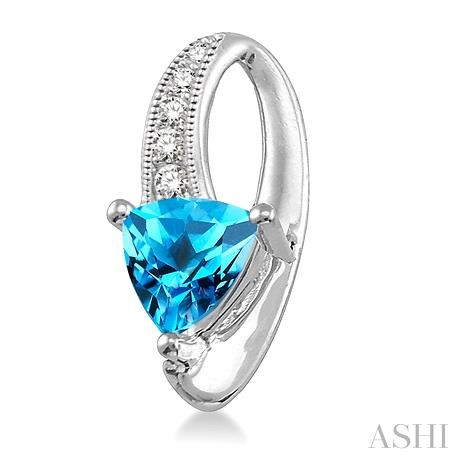 Trillion Shape Gemstone & Diamond Earrings