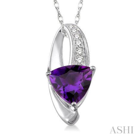 Trillion Shape Gemstone & Diamond Pendant