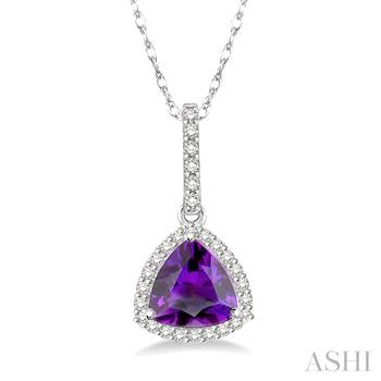 Trillion Shape Gemstone & Diamond Pendant