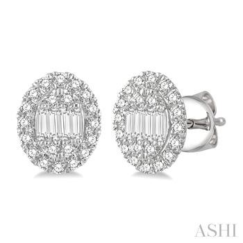 Oval Shape Diamond Earrings