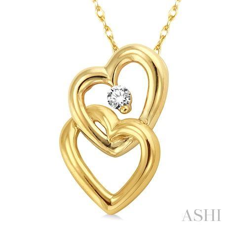Twin Heart Shape Diamond Pendant