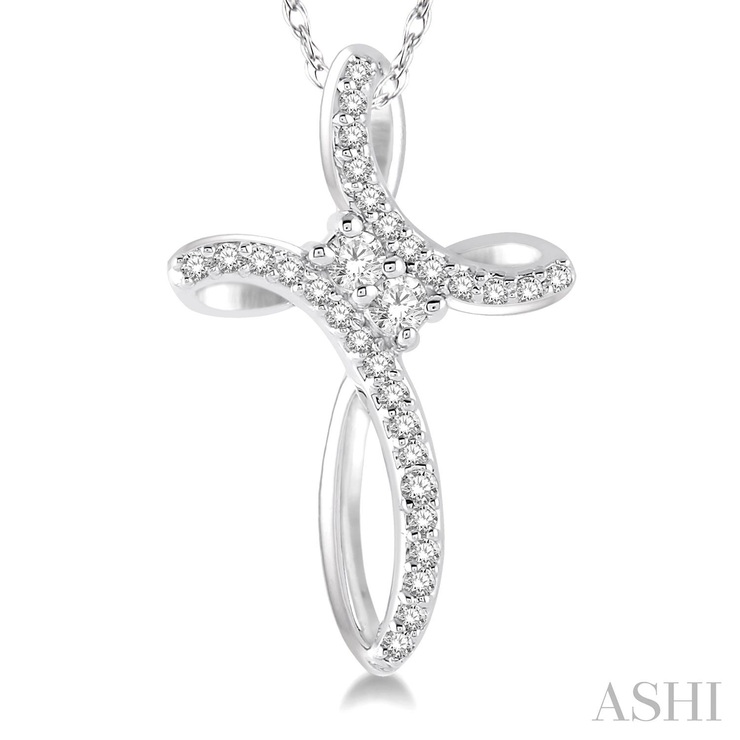 2Stone Cross Diamond Pendant