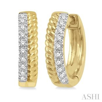 Diamond Bead Huggies Earrings