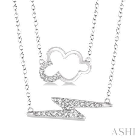 Cloud & Lightning Layered Diamond Pendant