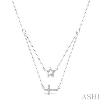 STAR & CROSS LAYERED DIAMOND PENDANT