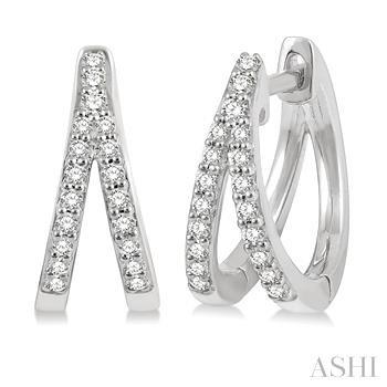 Diamond Split Huggies Earrings