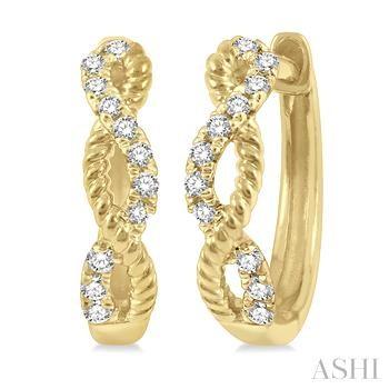 Diamond Twisted Huggies Earrings