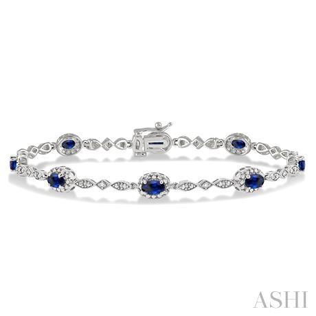 Oval Shape Gemstone & Diamond Bracelet
