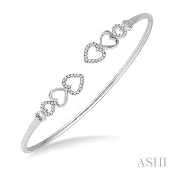 Diamond Heart Shape Flexi Bangle