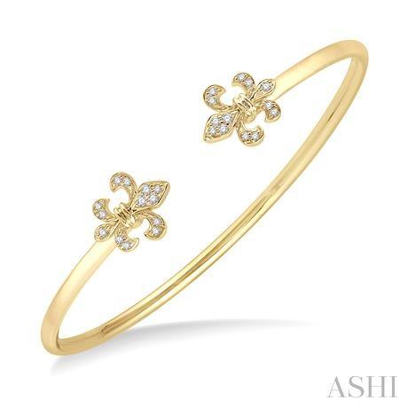 Fleur De Lis Shape Diamond Open Cuff Bangle