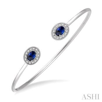 Oval Shape Gemstone & Diamond Open Cuff Bangle