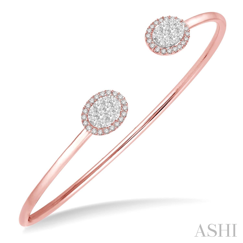 Oval Shape Lovebright Essential Cuff Open Diamond Bangle