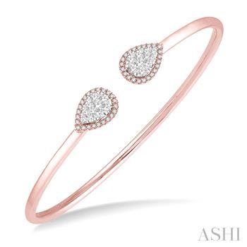 Pear Shape Lovebright Essential Cuff Open Diamond Bangle