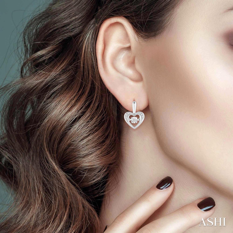 Silver Emotion Heart Shape Diamond Earrings
